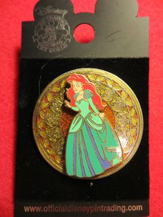 Disney WDW 2003 Pin Stained Glass Princesses 3D Series Ariel Mermaid NEW on Card