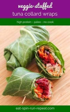 These veggie-stuffed tuna collard wraps are crunchy, colourful, and delicious. Perfect for a summer lunch!