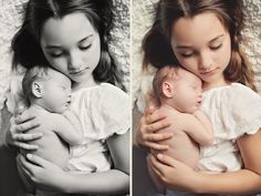 big sister holding newborn baby  sibling photo