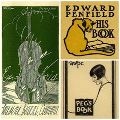 [Credits: clockwise from top right. Bookplate of Loresini Biazzi, Pratt Libraries collection, via Pinterest; Bookplate of American painter and illustrator Edward Penfield, via Pinterest; From the Brewer Collection, via Bookplate Junkie.]