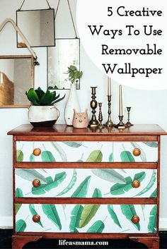 Removable wallpaper is a great, temporary alternative to traditional wallpaper that looks just as good as the real stuff and it way easier to handle. Here are five fun projects that can easily show off your new removable wallpaper. Apartment Decorating On A Budget, Diy Home Decor On A Budget, Cheap Home Decor, Diy Room Decor, Wallpaper Dresser, Wallpaper Furniture, Of Wallpaper, Wallpaper Samples, Malm Dresser