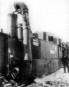 """Steam locomotive of the armoured train """"Śmiały""""."""