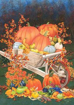 This fall floral pumpkin house flag features a rustic wheelbarrow full of pumpkins, gourds and flowers all beautifully arranged as a gorgeous autumn themed decoration. The rich colors stand out brilli Autumn Painting, Autumn Art, Dragonfly Decor, Pumpkin House, Wheelbarrow Garden, Autumn Scenes, Butterfly Decorations, Autumn Decorating, Fall Pictures