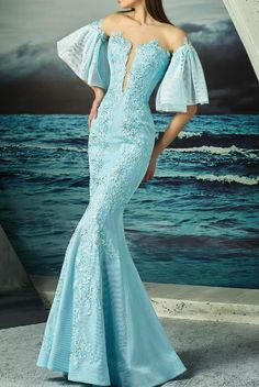 MNM Couture Blue Mint Flutter Sleeve Off Shoulder Mermaid Gown   Poshare