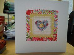 Handmade heart card made with Cath Kidston fabrics