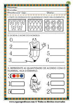 50 atividades de matemática  educação infantil Professor, Worksheets, Bullet Journal, Map, Pasta, Learning Activities For Kids, Reading Activities, Kids Learning Activities, Special Education