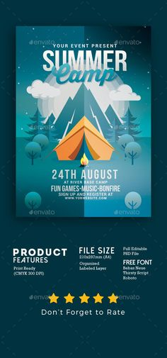 64372332f6e Summer Camp Flyer — Photoshop PSD #camp #holiday Diseño De Cartel Del  Evento,