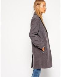 Petite Textured Coat With Contrast Collar by Asos
