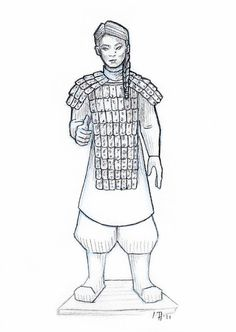 Coloring Page Chinese Warriors Lovely Line Art My