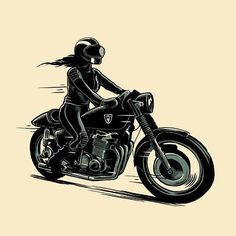 """caferacerpasion: """" caferacerpasion.com Menze Kwint design [TAGS] #caferacerpasion#caferacersofinstagram #caferacergirl #motorcyclesgirls #illustration """""""