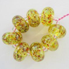 Sunflowers - handmade glass beads by Blue Box Studio