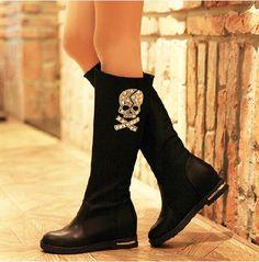 Diamond skull leopard women boots flat shoes,Tall Boots