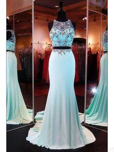 Two Pieces Beading Bodice Long Satin  Prom Dresses Evening  Dresses  #SIMIBridal #promdresses