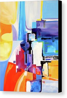 Tall River City Canvas Print by Expressionistar Priscilla-Batzell.  All canvas prints are professionally printed, assembled, and shipped within 3 - 4 business days and delivered ready-to-hang on your wall. Choose from multiple print sizes, border colors, and canvas materials.