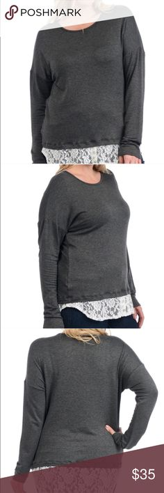 PLUS- French Terry Lace Contrast Shirt Plus Sized French Terry Lace Contrast Top• made in USA• Top is Raylon 95% and Spandex 5%• Contrast Lace is Nylon 92% and Spandex 8%• Boutique Shirt• Two button detail on front of Contrast• Bellino Clothing Tops Tees - Long Sleeve