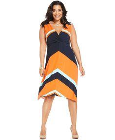 Alfani Plus Size Dress, Sleeveless Striped - Plus Size Dresses - Plus Sizes - Macy's