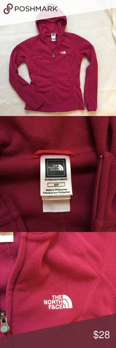 """The North Face TKA 100 Masonic Hoodie The North Face TKA 100 Masonic Hoodie. Size small. This is a pink color. Good, worn condition. See pictures of interior for signs of wear. Has ruching near pockets and a full zip up the front. Bust 17"""", Length from Shoulder 22"""", Waist taken at top of pockets 14.5"""", Sleeve length 25"""", Sleeve opening 3.5"""". 100% Polyester The North Face Jackets & Coats"""