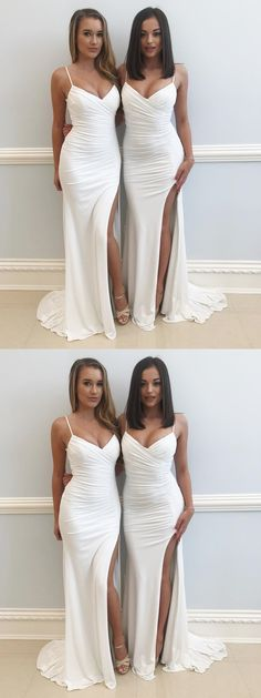 Sexy Mermaid Spaghetti Straps High Slit Long White Prom/Evening Dress With Pleats