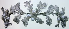 A diamond oak leaf wreath tiara, with diamond and pearl acorns