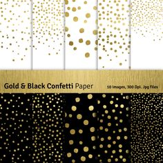 "Gold and Black Confetti Digital Papers. ""CONFETTI DOTS"". Gold Papers Christmas Patterns. 10 images 300 Dpi. Jpg files. Instant Download. Graphikcliparts 4.80 USD"