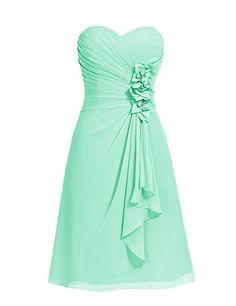 Dresstells® Short Chiffon Prom Dress with Flower Sweetheart Bridesmaid Dresses