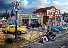 In Ken Zylla's Crossroads there is an old town main street complete with a Texaco gas station and classic cars.