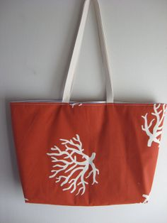 Beach Bag Extra Large White Sea Coral on Rust by OohBabyInfinity.