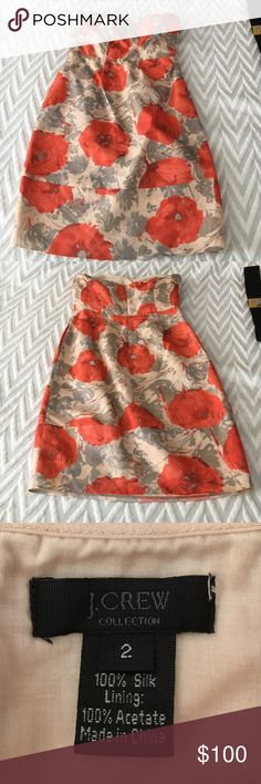 J crew collection dress with poppy design 100% silk gorgeous cocktail dress, boning has not poked through but slightly out of place J. Crew Dresses Wedding