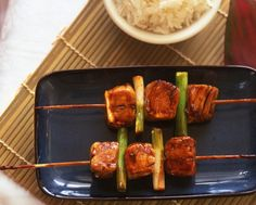 "#Yakitori literally means ""#grilled #chicken"" - kebabs of chicken grilled on a BBQ and basted with a sweet soy-based sauce. It is best made with the leg or thigh #meat as this is more juicy than fine-textured breast meat."