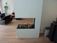 3 sides visible fire place