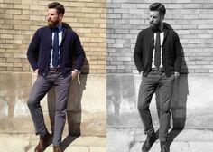 I like the pairing of a navy tie, navy cardigan and light blue shirt. Nicely done!