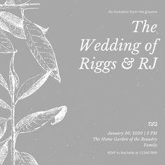 Gray Foliage Wedding Invitation - Templates by Canva