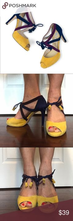 """Like NEW Boden """"Erin"""" Peep toe heels! Cute! Unique Like NEW Boden """"Erin"""" Peep toe heels! Cute! Unique. Worn once for a wedding. Size 41/fit women's 10 Mustard, blue and purple leather. Made in Spain sturdy and quality made! Fast shipping Boden Shoes Heels"""