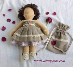 OOAK doll clothes, Linen, cotton set, for doll 14 - 16 inch: dress, embroidered petticoat, a bag for waldorf doll or similar,