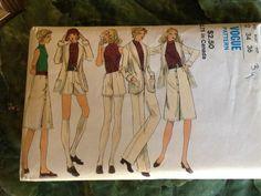 RARE 1970's Vogue Sewing Pattern 8201 Misses button frt Skirt Shorts Pants Jacket Size 12 uncut- vintage sewing pattern,Vogue suit pattern