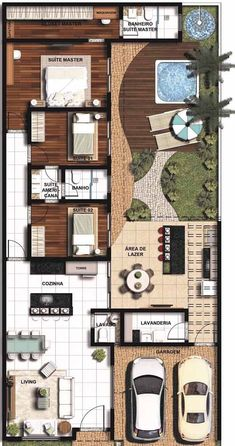 E ele realmente não decepciona! A planta revela uma casa planejada com elementos naturais, acolhedora e muito aconchegante House Layout Plans, Dream House Plans, Modern House Plans, House Layouts, Small House Plans, Modern House Design, House Floor Plans, My Dream Home, Future House