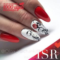 Nail art Christmas - the festive spirit on the nails. Over 70 creative ideas and tutorials - My Nails Trendy Nails, Cute Nails, My Nails, Bling Nails, Red Nail Designs, French Nail Designs, Red Nail Art, Diva Nails, Luxury Nails