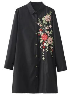 Blouse longue avec broderie floral - noir -French SheIn(Sheinside)