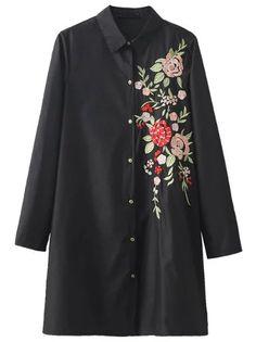 Blouse longue avec broderie floral - noir -French SheIn(Sheinside)