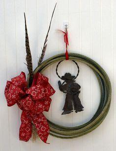 Christmas Wreath Cowboy Lasso Pheasant Feather