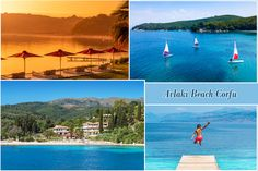 Avlaki beach will amaze you with its fascinating, wild beauty and its green nature almost reaching the crystal clear blue waters! Kassiopi Corfu, Corfu Greece, Corfu Hotels, Green Scenery, White Pebbles, Windsurfing, Green Nature, Perfect Place, Lush