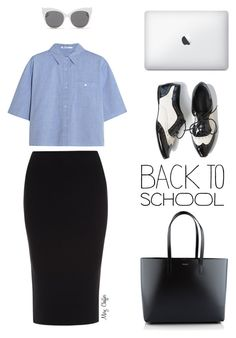"""Back to school in oxfords!"" by mcheffer ❤ liked on Polyvore featuring T By Alexander Wang, Roland Mouret, Blanc & Eclare, Yves Saint Laurent, croptop, Oxfords and pencilskirt"