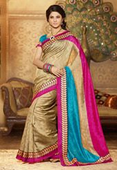 Beige, Pink and Blue Art Silk Saree With Blouse
