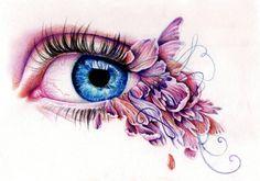 Colored Eye Drawing by Kate Louise Powell (UK) Kate Powell, Art Sketches, Art Drawings, Pencil Drawings, A Level Art, Girly, Gcse Art, Illustration Artists, Eye Illustration