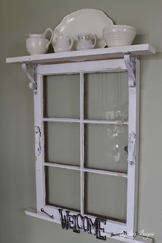 This site has many upcycling ideas for the home. I like the idea of adding a shelf across the top of an old window frame. Idea for Pilgrim Firs window frame? Window Frame Decor, Old Window Frames, Window Art, Old Window Ideas, Ideas With Old Windows, Rustic Window Frame, Window Photo Frame, Window Table, Faux Window