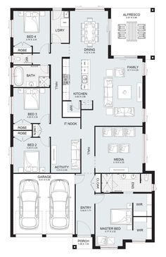 Sierra 29 - Single Level - Floorplan by Kurmond Homes - New Home Builders Sydney NSW Sims House Plans, House Layout Plans, New House Plans, Dream House Plans, House Layouts, Small House Plans, House Floor Plans, Single Level Floor Plans, Single Storey House Plans