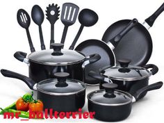 pots and pans Cook N Home 15 Piece Non stick Black Soft handle Cookware Set
