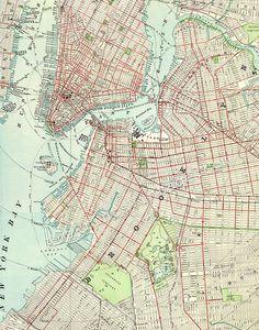 Brooklyn New York Vintage Map 11 x 14 PRINT City Map Wall  Decor - P242. $26.00, via Etsy.
