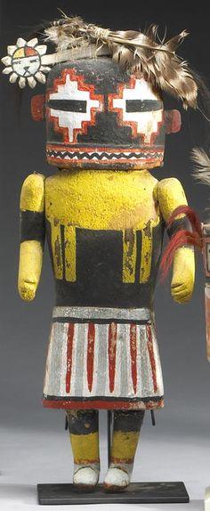 Hilili, a kachina of Zuni origin, stepped diamonds painted about the eyes