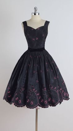 Vintage 1950s Black Pink Flocked Cocktail Dress